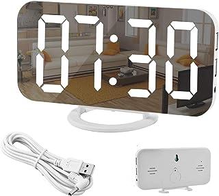 Spegelväckarklocka, digital väckarklocka, stor 6,5tums LED-display med ljusavkännande dämpningsläge, justerbar ljusstyrk...