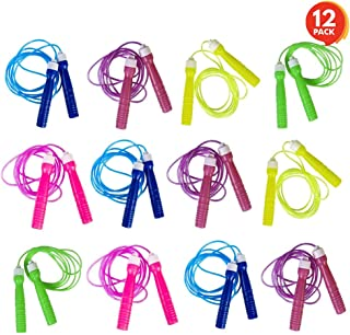 ArtCreativity 7ft Neon Jump Rope Set - 12 Pack - Vibrant Jumping Ropes for Kids - Durable PVC Skipping Ropes - Great Birthday Party Favors, Goodie Bag Fillers, Gift Idea for Boys and Girls