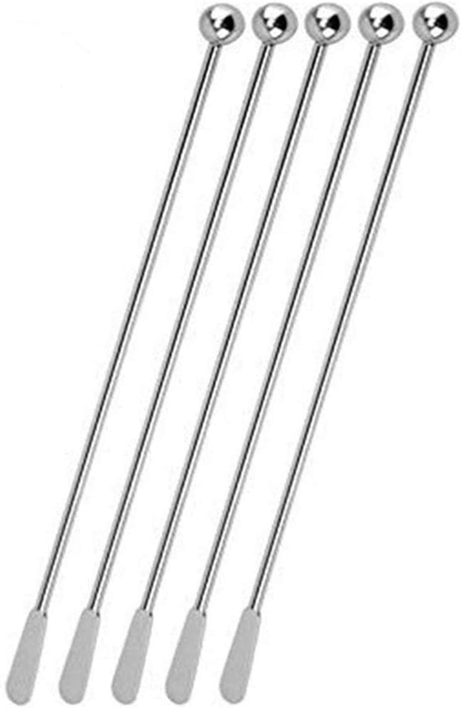   Jsdoin Stainless Steel Coffee Beverage Stirrers Stir Cocktail Drink Swizzle Stick with Small Rectangular Paddles (5 silver): Swizzle Sticks