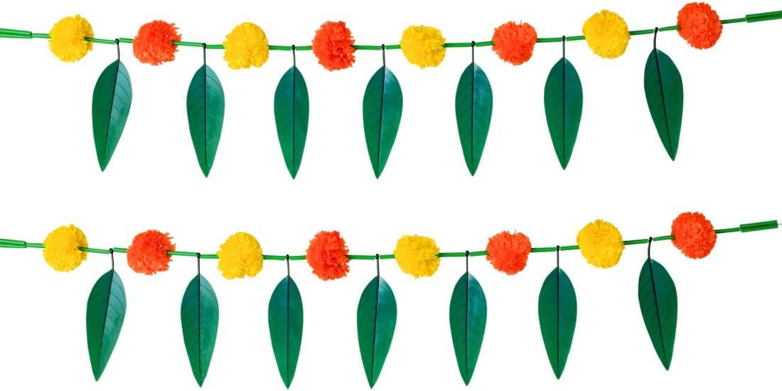 "Set of 2 Artificial Marigold Flower Garlands with Mango Leaf Yellow & Dark Orange Door Toran / Decorative Hanging Bandanwar for Parties Indian Wedding Puja Festival Theme Décor ( Size :- 30"" Inchs)"