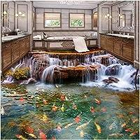 Lcymt 3D床壁紙滝鯉浴室床壁画絵画3Dpvc粘着ウォールステッカー壁紙防水-280X200Cm
