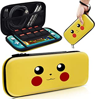 Haobuy Case for Switch Lite, Carrying Case for Pokemon Switch Lite Case [Design for Let's Go Pikachu/Eevee Pouch], Portable Slim Travel Carry Case for Switch Lite Games & Accessories