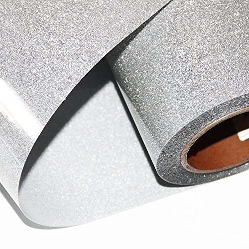 Hoho Wärmetransfer-Glitzer-Papier, Vinyl, Klebefolie für T-Shirts, 50,8x 30,5cm silber