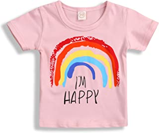 Toddler Baby Girls Boys Long Sleeve Rainbow Print Cotton Soft Pullover T-Shirt Tops Clothes