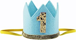 iiniim Corona Infantil Diadema Dorado con Lentejuelas Brillante Primer Cumpleaños Accesorios Diadema Fiesta Sombrero Gorro Príncipe