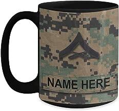US Marine Corps Coffee Mug - Personalized Name & Rank, Customized Gift for USMC (15 oz - Rank - E-3, Lance Corporal, LCpl, Black - Rank - E-3, Lance Corporal, LCpl)
