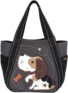 Chala Carryall Zip Tote, Canvas Handbag, Top Zipper, Animal Prints - Dog Gen II - Blue Stripe