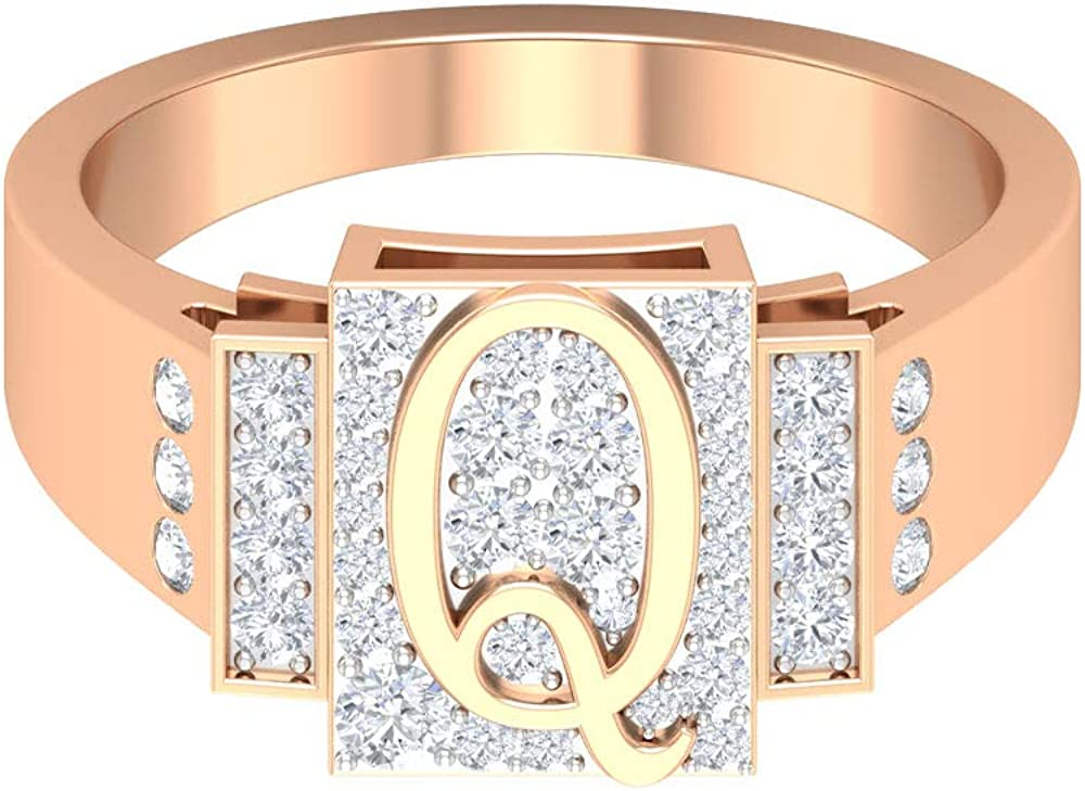 Customized Initial Ring Q Letter Low price Alphabet 0.53 D CT HI-SI Ranking TOP9