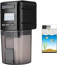 Petacc Alimentador Automático Acuario Multifuncional Comedero Peces Automático con Pantalla LCD y el Tiempo de Alimentación Configuración, Adecuado para Acuario, Pecera (175ml, Negro)