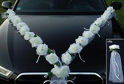 Autoschmuck Due Ghirlande Di Rose Artificiali Decorazione Per Auto Per Matrimonio Bianco Amazon It Casa E Cucina