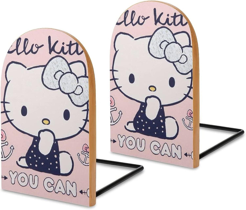 KRISMARIO Pink Hello Kitty 2pcs Heavy Wood Logs Bookends Modern