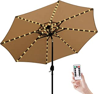 Patio LED Umbrella String Lights,8 Mode with Remote Control Parasol Lights Battery Operated Waterproof Outdoor Lighting for 9-10ft Table Patio Umbrellas Outdoor Sunshade-Warm White …