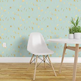 Spoonflower Peel and Stick Removable Wallpaper, Blue and Gold Paint Flecks Print, Self-Adhesive Wallpaper 24in x 144in Roll