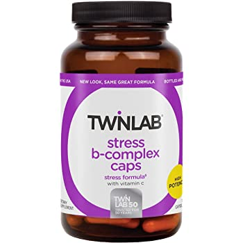 TwinLab Stress B-Complex Caps with Vitamin C - B Vitamin Energy Pills for Stress Relief & Immune Support for Men & Women - (100 Caps)