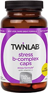 Twinlab Stress B-Complex Caps, 100 Capsules Supports Energy Production Stress Relief, Nerve Support & Cell Metabolism with Vitamin C