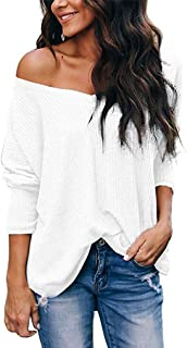 LuckyMore Women's Casual Off Shoulder Tops V Neck Waffle Knit Blouse Batwing Sleeve Loose Pullover Sweater