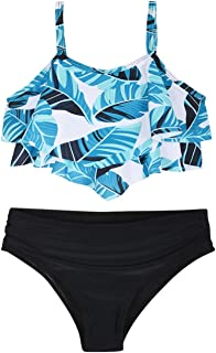 Firpearl Girl's Bikini Set Ruffled Two Piece Bathing Suits Flounce Kids Swimsuit Swimwear