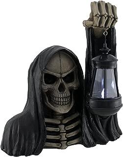 Zeckos Undertaker's Light Grim Reaper Holding Lantern Garden Light Lamp