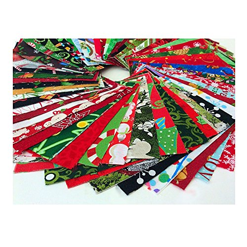 Christmas Fabric Charm Pack Lot - 100% Cotton Quilting Fabric 100 5' SQUARES