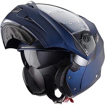 53-54cm Caberg DUKE II IMPACT DVS Double Visor Motorbike Flip Up Front Motorcycle Helmet Matt Blue//Blue//White XS