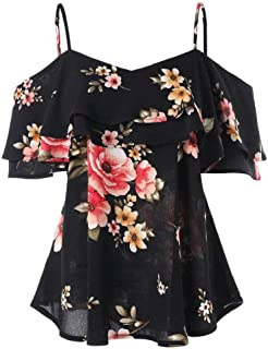 HGWXX7 Women Floral Printing Off Shoulder Short Sleeve Chiffon Tops Shirt Blouse