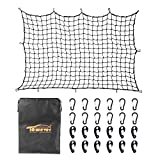 Towever 4'x6' Bungee Cargo Net Pickup Truck Bed Long Stretches to 8'x12', 4x4 inches Mesh Net Small Large Cargo Load Tight