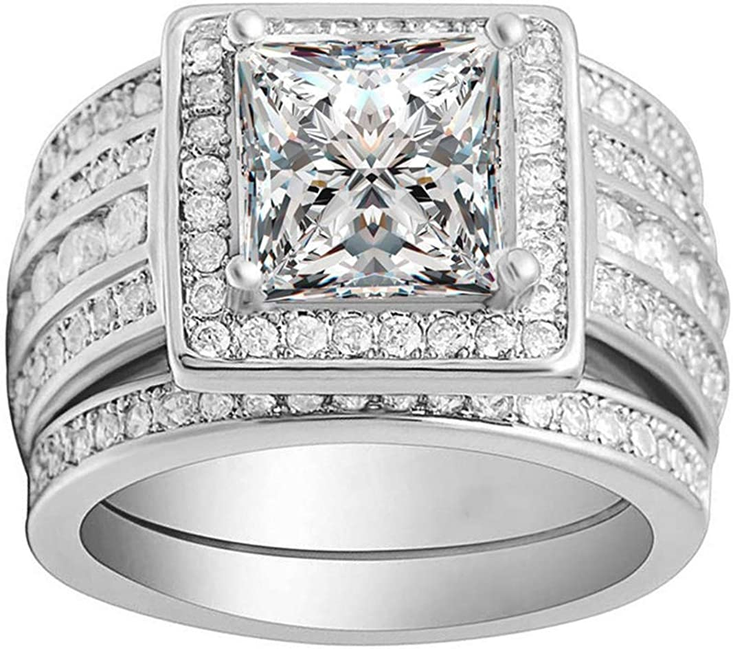 Beverly Bridal Wedding Ring Set For Women 3 Piece Large Engagement Ring Two Matching Anniversary Bands Square Halo Design Cubic Zirconia Princess Cut Center Stone Jewelry For Ladies