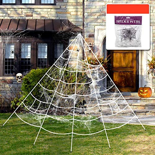 Aliga Halloween Spinnennetz Spinngewebe Dekoration Set Super Stretch Cobweb mit 2 gefälschten Spinnen Triangular Mega Outdoor Spinnennetz für das Beste Halloween Outdoor Yard Dekor