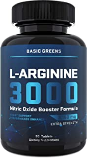 L-Arginine (3150mg) for Maximum Strength - Nitric Oxide Booster – Arginine Supplements for Muscle Growth, V...