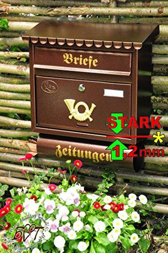 BTV Briefkasten F groß in Kupfer kupferbraun braun Zeitungsfach Zeitungen Post antik Mailbox Schild