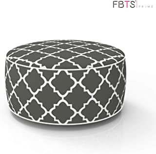 FBTS Prime Outdoor Inflatable Ottoman Grey Round 21x9 Inch Patio Foot Stools and Ottomans Portable Travel Footstool Used for Outdoor Camping Home Yoga Foot Rest