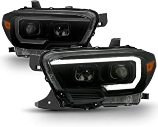ACANII - Black Smoked LED Sequential DRL Headlamps For 2016-2018 Toyota Tacoma W/O DRL Headlights Driver & Passenger