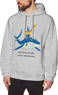 Men's Hooded Sweaters Fashionable with Pockets & Print Tops Never Stop You Dreams Giraffe Riding On The Shark