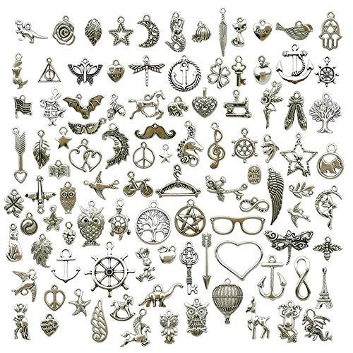 100 piezas Colgantes tibetanos del encanto de plata retro al por mayor mezclados Retro Mezclados Plata Colgantes para de la joyería de bricolaje llaveros pulseras collares pendientes(5x37mm)