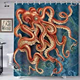 TERSUM Energetic Octopus Shower Curtain Subsea Background Print Bathroom Curtain Home Decoration Fabric Machine Washable Privacy Curtain with Hooks 72'×72' YLHXTE31