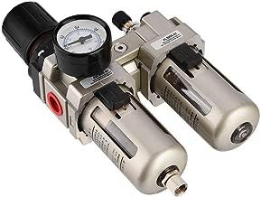 KKmoon Regolatore di Pressione Aria AFR2000 Filtro Aria Separatore Acqua Filtro Compressore Airbrush con Raccordi Combinazione Misuratore Pressione MPA