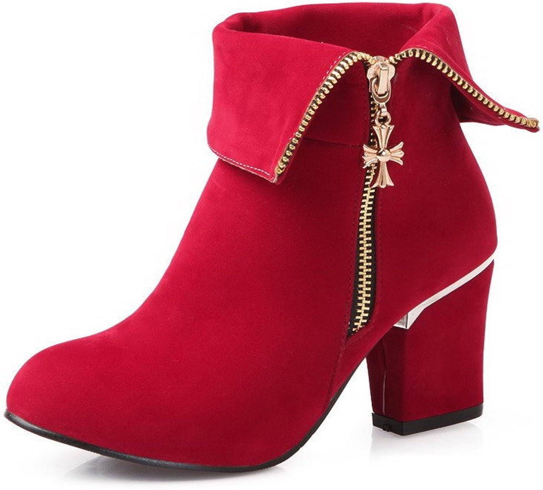 BalaMasa Womens Kitten Heels Mid Calf Solid Imitated Suede Knight Boots