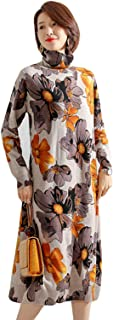 HangErFeng Dress Printed Wool Knitting Comfortable High Collar and Long Sleeves Skirt