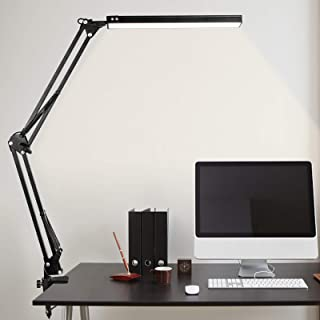 LED Desk Lamp, MINLUK 14W Eye-Caring Table Lamp with USB Charging Port, Swing Arm Desk Light with Clamp, 3 Color Modes&10 ...