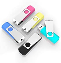TOPESEL 5 Pack 2GB USB Flash Drives Thumb Drives Memory Stick USB 2.0(5 Colors: Black Blue Cyan Pink Yellow)