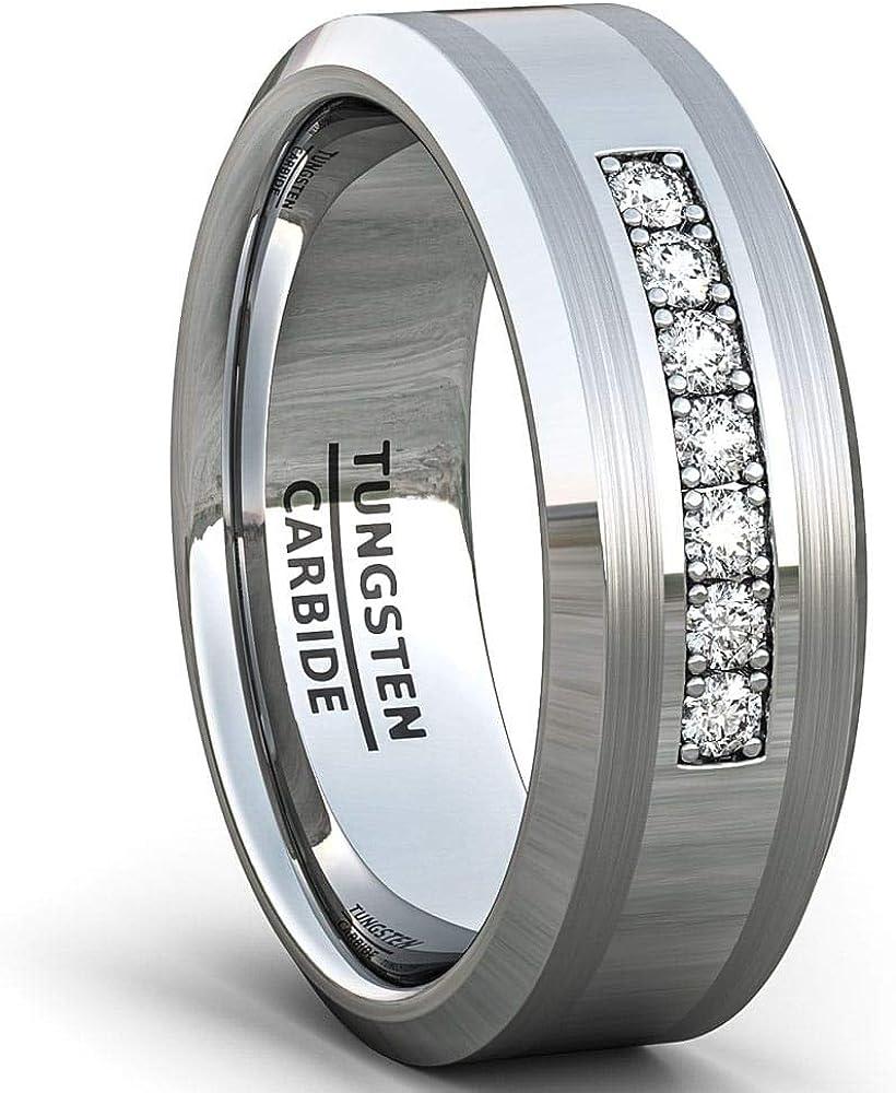 Duke Collections Sale Save money price 8mm Black Tungsten Carbide Zircon Ring 7 Cubic