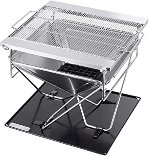 Monoprice Stainless Steel Folding Charcoal Grill, Adjustable Grilling Grid, Portable, Multiuse Design - Pure Outdoor Colle...
