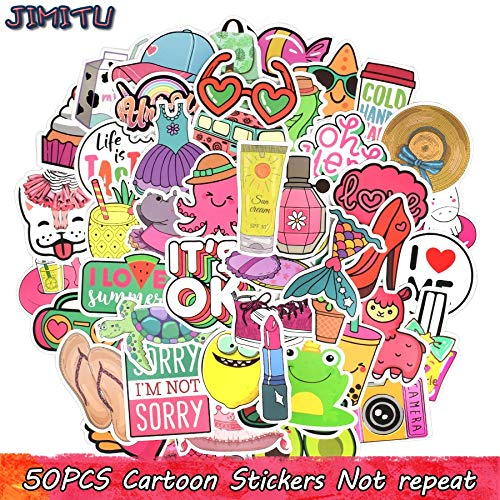 50 PCS Cartoon Girl Style Stickers Kawaii Anime Beach Graffiti Sticker DIY for Water Bottle Laptop Luggage Tablet Cosmetic Case