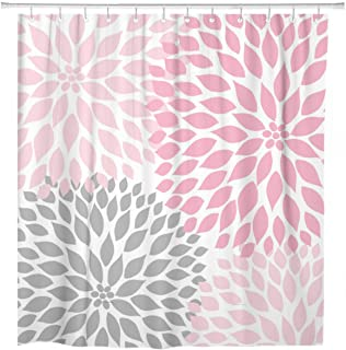 ArtSocket Shower Curtain Pale Pink Gray White Dahlias Odorless Home Bathroom Decor Polyester Fabric Waterproof 60 x 72 Inches Set with Hooks