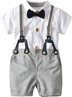 Newborn Baby Boy Romper and Overall, Infant Toddler Formal Suit 4 Pcs Set Bowie Suspender Romper Shorts