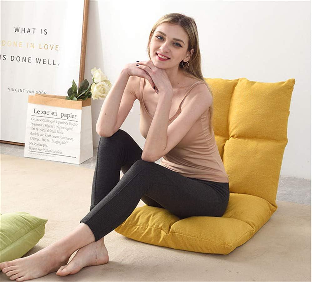CSPFAIZA Chaise de Sol avec Dossier Pliable Réglable, pour Yoga/Maison/Bureau/Extérieur (Jaune/Beige) Yellow