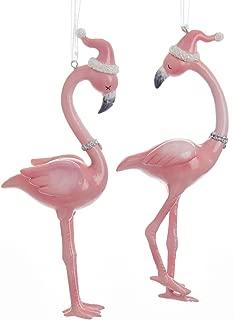 Kurt Adler Millennial Pink Flamingos in Santa Hats Christmas Holiday Ornaments Set of 2