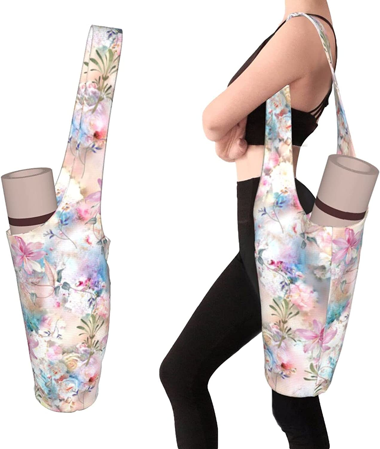 Purple and Blue Flowers Yoga Mat Yog New item Tote San Diego Mall Bag Sling Carrier with