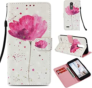 LG Zone 4 Case, LG Aristo 2/LG Tribute Dynasty/LG K8 2018/LG Fortune 2/LG Risio 3 Case, Love Sound [Wrist Strap] [Stand Feature] 3D Painted Design PU Leather Wallet Flip Case Cover, Pink Flower