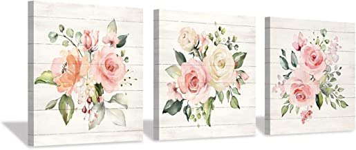"""Pink Floral Canvas Wall Art: Roses Flowers Bouquet Pictures Artwork for Kitchen Bathrooms (12""""x12""""x3pcs)"""